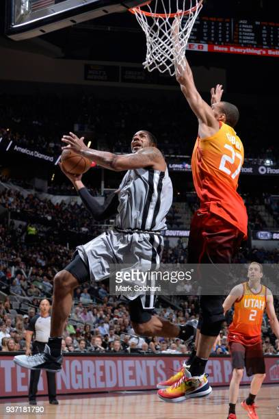 LaMarcus Aldridge of the San Antonio Spurs goes to the basket against the Utah Jazz on March 23 2018 at the ATT Center in San Antonio Texas NOTE TO...