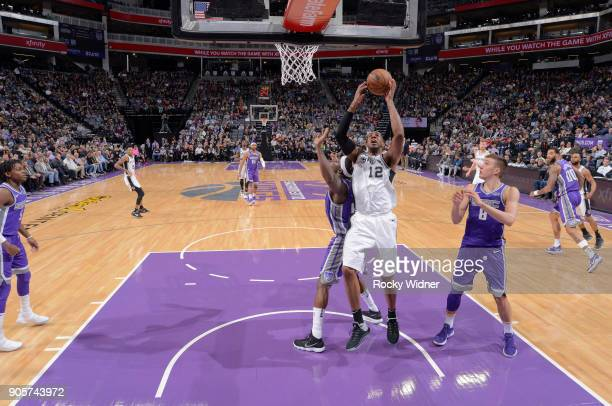 LaMarcus Aldridge of the San Antonio Spurs goes up for the shot against the Sacramento Kings on January 8 2018 at Golden 1 Center in Sacramento...