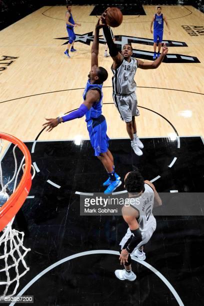 LaMarcus Aldridge of the San Antonio Spurs grabs the rebound against the Dallas Mavericks on December 16 2017 at the ATT Center in San Antonio Texas...