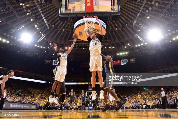 LaMarcus Aldridge of the San Antonio Spurs grabs the rebound against the Golden State Warriors in Game Two of Round One of the 2018 NBA Playoffs on...