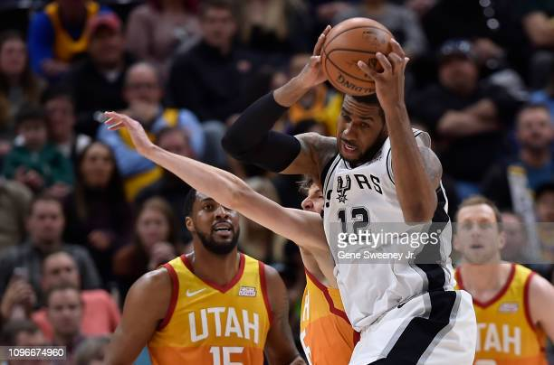 LaMarcus Aldridge of the San Antonio Spurs grabs the rebound from Kyle Korver of the Utah Jazz in the first half of a NBA game at Vivint Smart Home...