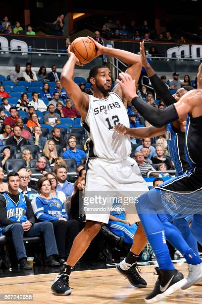 LaMarcus Aldridge of the San Antonio Spurs handles the ball against the Orlando Magic on October 27 2017 at Amway Center in Orlando Florida NOTE TO...