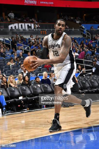 LaMarcus Aldridge of the San Antonio Spurs handles the ball against the Orlando Magic on October 27, 2017 at Amway Center in Orlando, Florida. NOTE...