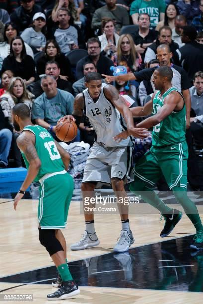 LaMarcus Aldridge of the San Antonio Spurs handles the ball against the Boston Celtics on December 8 2017 at the ATT Center in San Antonio Texas NOTE...