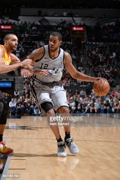 LaMarcus Aldridge of the San Antonio Spurs handles the ball against the Utah Jazz on March 23 2018 at the ATT Center in San Antonio Texas NOTE TO...