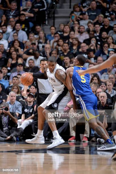 LaMarcus Aldridge of the San Antonio Spurs handles the ball against the Golden State Warriors during Game Three of the Western Conference...
