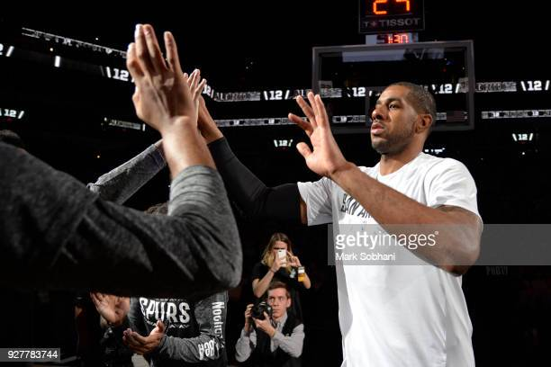 LaMarcus Aldridge of the San Antonio Spurs is introduced before the game against the Memphis Grizzlies on March 5 2018 at the ATT Center in San...