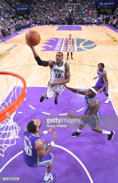 LaMarcus Aldridge of the San Antonio Spurs shoots a layup against the Sacramento Kings on January 8 2018 at Golden 1 Center in Sacramento California...