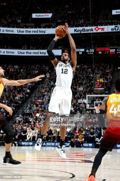 LaMarcus Aldridge of the San Antonio Spurs shoots the ball against the Utah Jazz on February 9 2019 at Vivint Smart Home Arena in Salt Lake City Utah...