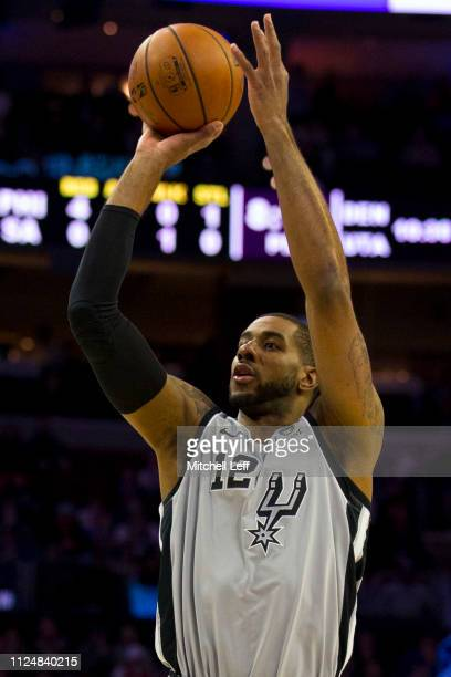 LaMarcus Aldridge of the San Antonio Spurs shoots the ball against the Philadelphia 76ers at the Wells Fargo Center on January 23 2019 in...