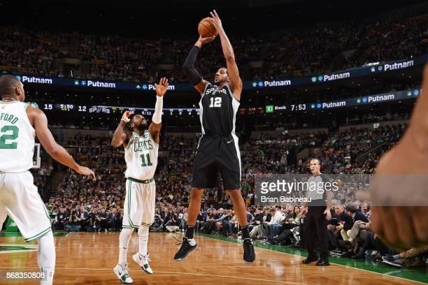 LaMarcus Aldridge of the San Antonio Spurs shoots the ball against the Boston Celtics on October 30 2017 at the TD Garden in Boston Massachusetts...