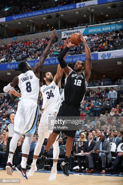 LaMarcus Aldridge of the San Antonio Spurs shoots the ball against Brandan Wright of the Memphis Grizzlies on December 1 2017 at FedExForum in...