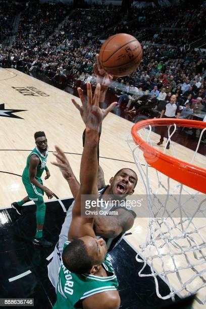 LaMarcus Aldridge of the San Antonio Spurs shoots the ball against the Boston Celtics on December 8 2017 at the ATT Center in San Antonio Texas NOTE...