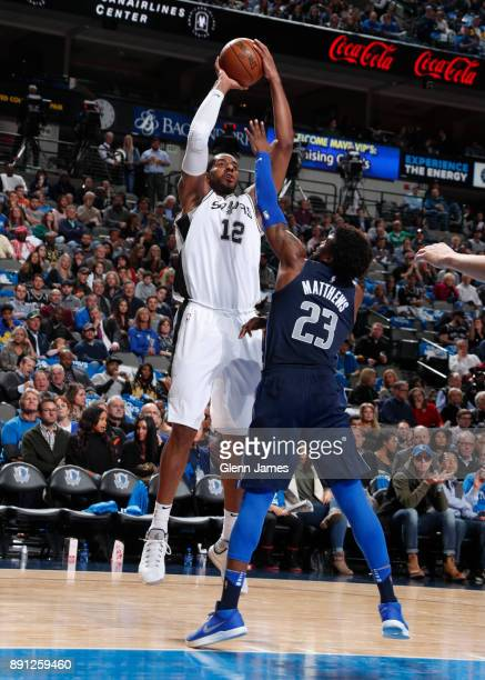 LaMarcus Aldridge of the San Antonio Spurs shoots the ball against the Dallas Mavericks on December 12 2017 at the American Airlines Center in Dallas...