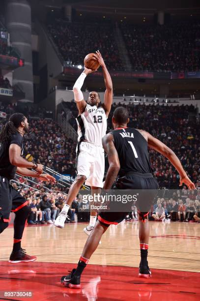 LaMarcus Aldridge of the San Antonio Spurs shoots the ball against the Houston Rockets on December 15 2017 at the Toyota Center in Houston Texas NOTE...