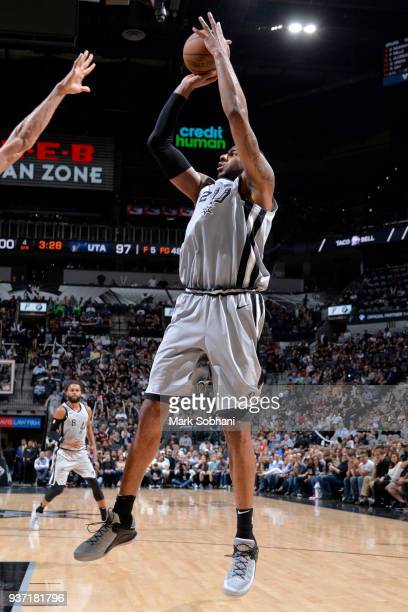 LaMarcus Aldridge of the San Antonio Spurs shoots the ball against the Utah Jazz on March 23 2018 at the ATT Center in San Antonio Texas NOTE TO USER...