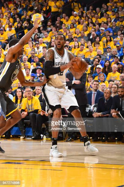 LaMarcus Aldridge of the San Antonio Spurs shoots the ball against the Golden State Warriors in Game Two of Round One of the 2018 NBA Playoffs on...