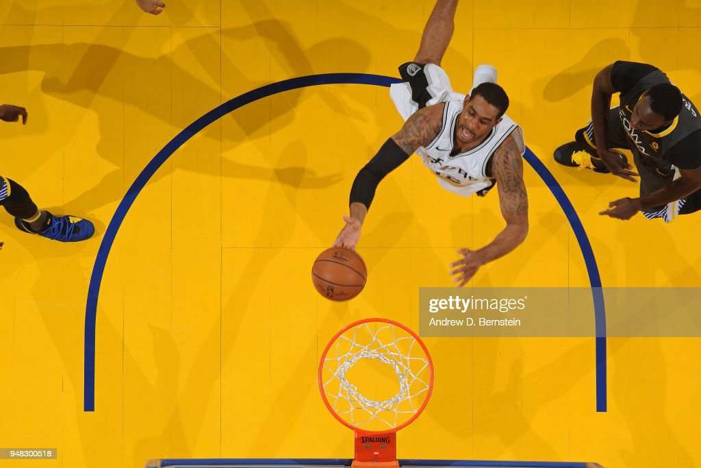 LaMarcus Aldridge #12 of the San Antonio Spurs shoots the ball against the Golden State Warriors in Game Two of Round One of the 2018 NBA Playoffs on April 16, 2018 at ORACLE Arena in Oakland, California.