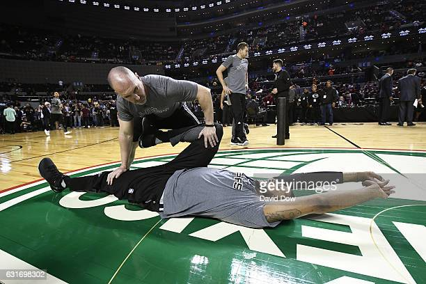 LaMarcus Aldridge of the San Antonio Spurs stretches before the game against the Phoenix Suns as part of NBA Global Games at Arena Ciudad de Mexico...