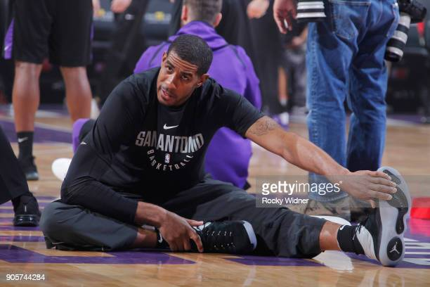 LaMarcus Aldridge of the San Antonio Spurs warms up against the Sacramento Kings on January 8 2018 at Golden 1 Center in Sacramento California NOTE...