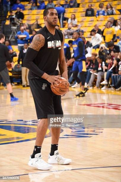 LaMarcus Aldridge of the San Antonio Spurs warms up before the game against the Golden State Warriors in Game Two of Round One of the 2018 NBA...