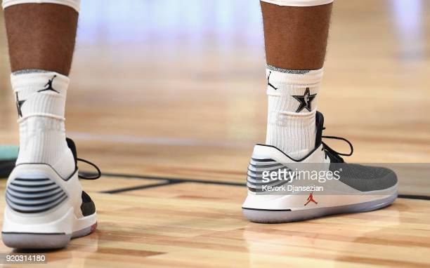 LaMarcus Aldridge shoes on display during the NBA AllStar Game 2018 at Staples Center on February 18 2018 in Los Angeles California