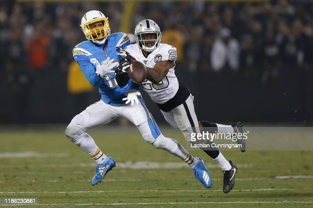 Lamarcus Joyner of the Oakland Raiders breaks up a pass intended for Keenan Allen of the Los Angeles Chargers at RingCentral Coliseum on November 07,...