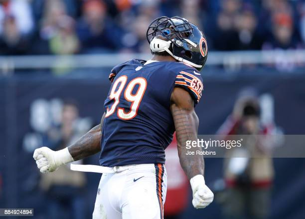 Lamarr Houston of the Chicago Bears celebrates after sacking quarterback Jimmy Garoppolo of the San Francisco 49ers in the second quarter at Soldier...
