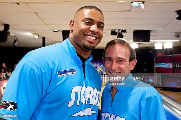 LaMarr Woodley of the Pittsburgh Steelers and PBA player Norn Duke pose at the PBA celebrity bowling fundraiser at Riverboat Lanes on January 7 2010...