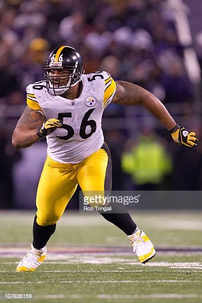 c386a1802fb LaMarr Woodley of the Pittsburgh Steelers defends against the Baltimore  Ravens on December 5 2010 at