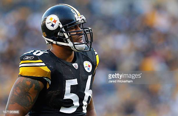 LaMarr Woodley of the Pittsburgh Steelers lines up before the snap during the game against the Oakland Raiders on November 21 2010 at Heinz Field in...