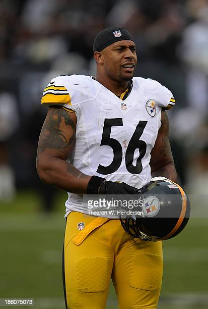 LaMarr Woodley of the Pittsburgh Steelers looks on against the Oakland Raiders during the fourth quarter at Oco Coliseum on October 27 2013 in...