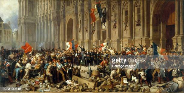 Lamartine in front of the Town Hall of Paris rejects the red flag on 25 February 1848 Found in the Collection of Musée Carnavalet Paris