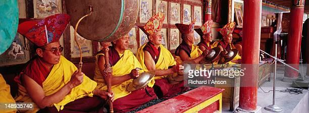 Lamas playing drums & cymbals at the Tse-Chu festival at Hemis Monastery.