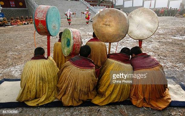 Lamas present skull dance during the 'Tiaoqian' praying ceremony at the Youning Temple on February 8 2009 in Huzhu County of Qinghai Province China...
