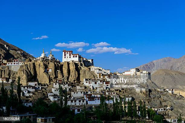 LADAKH LAMAYURU JAMMU KASHMIR INDIA Lamayuru Gompa surrounded by barren landscape and blue sky is the oldest and largest existing monastery in Ladakh...