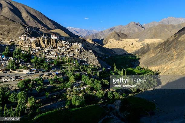 LADAKH LAMAYURU JAMMU KASHMIR INDIA Lamayuru Gompa surrounded by barren landscape and blue sky is the oldest and largest existing monastery in Ladakh...