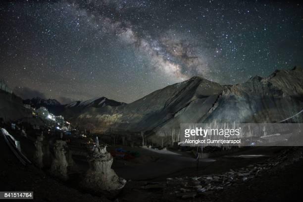 Lamayuru monastery with himalayas mountain and milky way