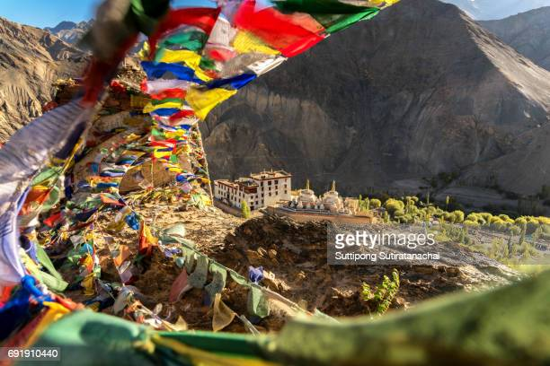 lamayuru temple monastery in leh ladakh on the hill in mountain valley - kashmir flag stock pictures, royalty-free photos & images