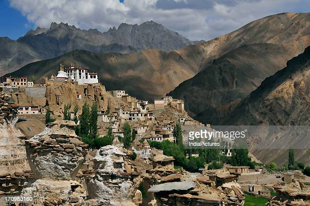 Lamayuru village and gompa on top of a hill Ladakh Jammu and Kashmir India