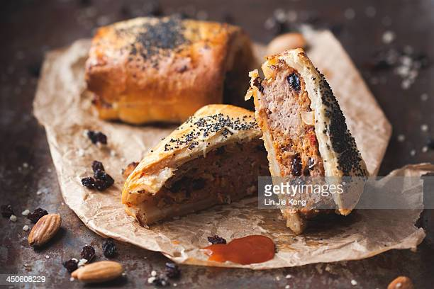 Lamb, almond and harissa sausage rolls