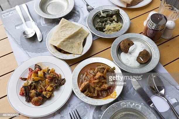 Lamb bean stew falafel yoghurt bread stuffed vine leaves at Ciya Sofrasi Turkish restaurant Asian Istanbul Turkey