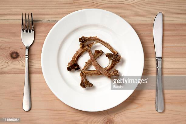 lamb chop bones - animal bones stock photos and pictures