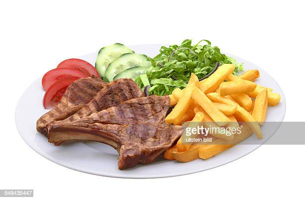 Lamb chop with chips and salad