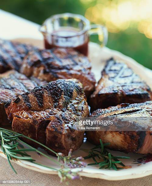 Lamb chops in red wine garnished with lavender