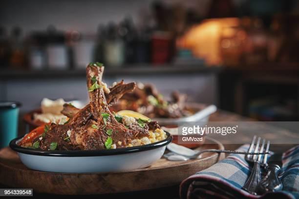 Lamb Chops with Bulgur, Root Vegetables and Yogurt