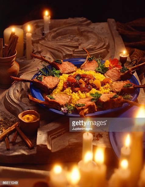 lamb chops with couscous - couscous marocain photos et images de collection