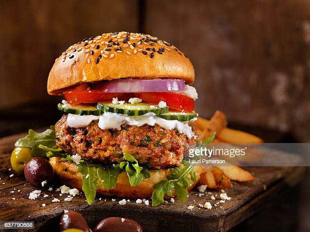 100% lamb -greek burger - classical greek style stock pictures, royalty-free photos & images