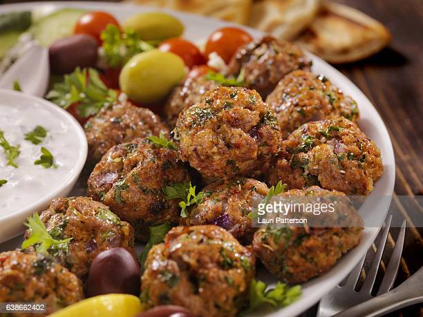 100% lamb -greek meatball platter - greek culture stock pictures, royalty-free photos & images