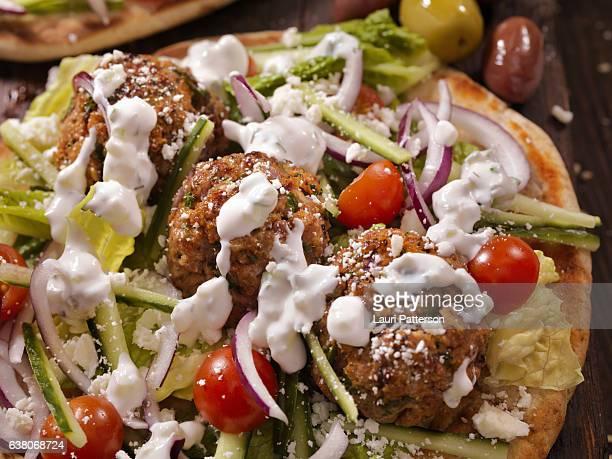 100% lamb -greek meatball souvlaki wrap - mediterranean food stock pictures, royalty-free photos & images